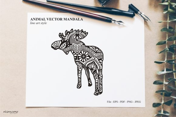 Print on Demand: Animal Vector Mandala Line Art Style 17 Graphic Crafts By Ahsancomp Studio