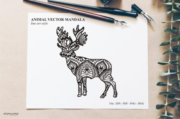 Print on Demand: Animal Vector Mandala Line Art Style 19 Graphic Crafts By Ahsancomp Studio