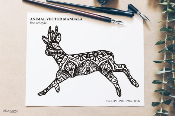 Print on Demand: Animal Vector Mandala Line Art Style 20 Graphic Crafts By Ahsancomp Studio