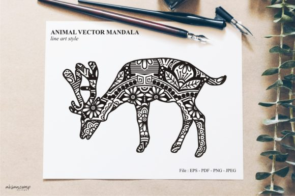 Print on Demand: Animal Vector Mandala Line Art Style 21 Graphic Crafts By Ahsancomp Studio