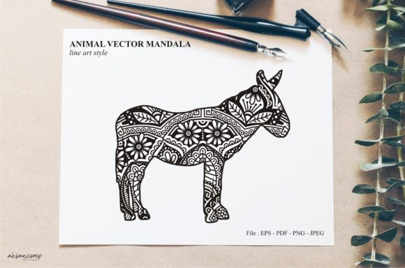 Print on Demand: Animal Vector Mandala Line Art Style 22 Graphic Crafts By Ahsancomp Studio