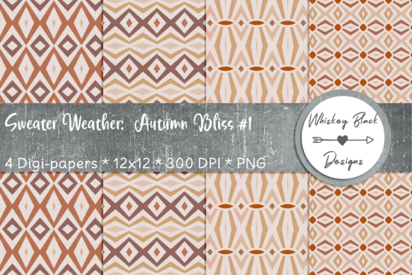 Print on Demand: Autumn Diamonds Sweater Pattern Paper 1 Graphic Patterns By Whiskey Black Designs