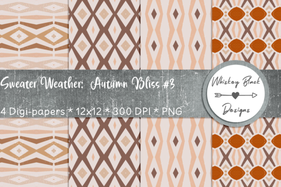 Print on Demand: Autumn Diamonds Sweater Pattern Paper 3 Graphic Patterns By Whiskey Black Designs