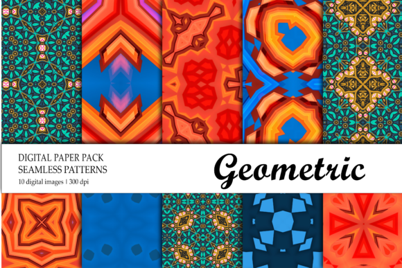 Print on Demand: Background Digital Paper Green Blue Red Graphic Backgrounds By isalnesia