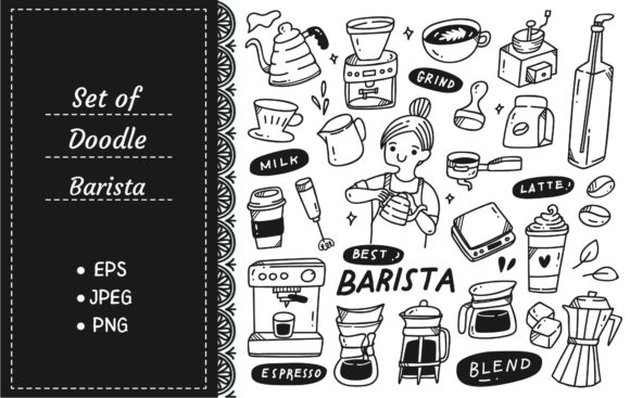 Barista and Various Related Object Graphic Illustrations By Big Barn Doodles