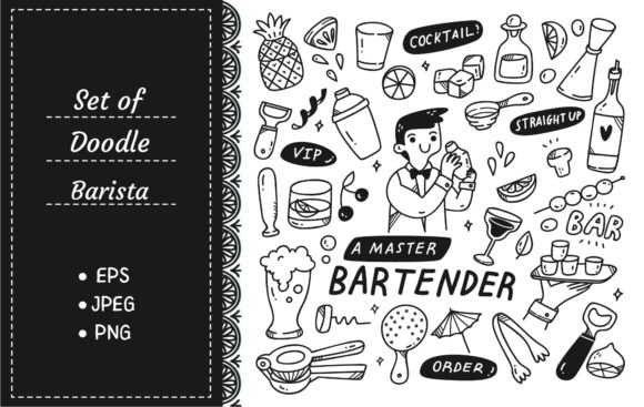 Bartender and Various Related Object Graphic Illustrations By Big Barn Doodles