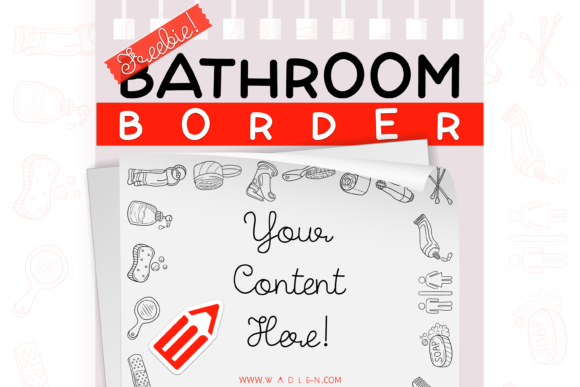 Bathroom Border Template Graphic Print Templates By WADLEN