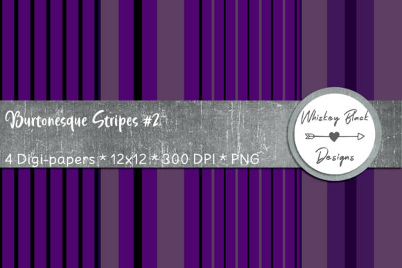 Print on Demand: Black & Purple Thick & Thin Goth Lines 2 Graphic Patterns By Whiskey Black Designs