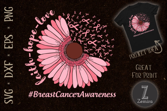 Print on Demand: Breast Cancer Awareness Pink Flower Graphic Crafts By Zemira