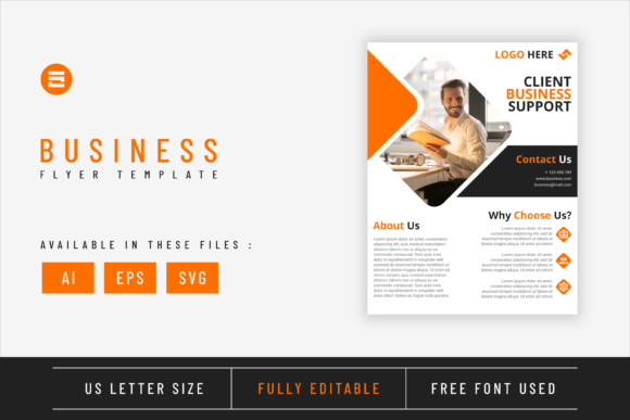 Business Flyer Template Amber Yellow Graphic
