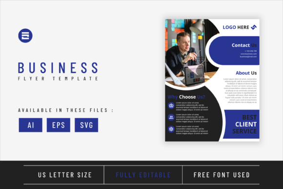 Business Flyer Template Dark Blue Color Graphic Print Templates By Saidi Creative