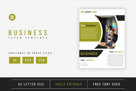 Business Flyer Template Green Colored Graphic Print Templates By Saidi Creative