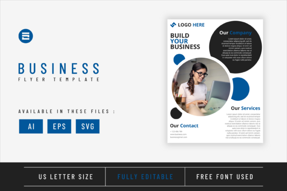 Business Flyer Template Indigo Colored Graphic Print Templates By Saidi Creative