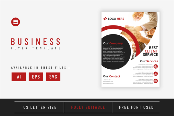 Business Flyer Template Red Shapes Graphic Print Templates By Saidi Creative