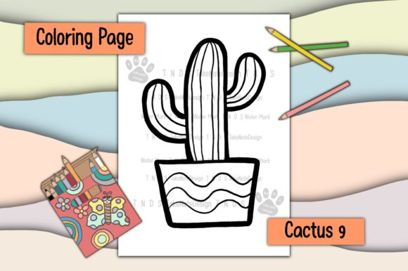 Cactus 9 Graphic Coloring Pages & Books Kids By TakeNoteDesign