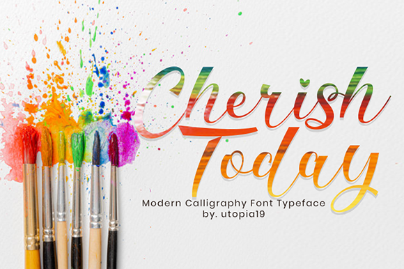 Print on Demand: Cherish Today Script & Handwritten Font By utopiabrand19