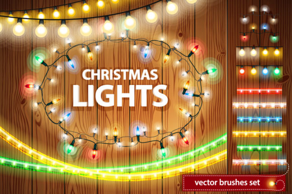 Christmas Lights Decorations Set Grafik Brushes von Voysla's Shop