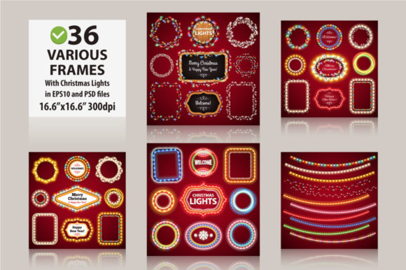 Christmas Lights Decorations Set Graphic Download
