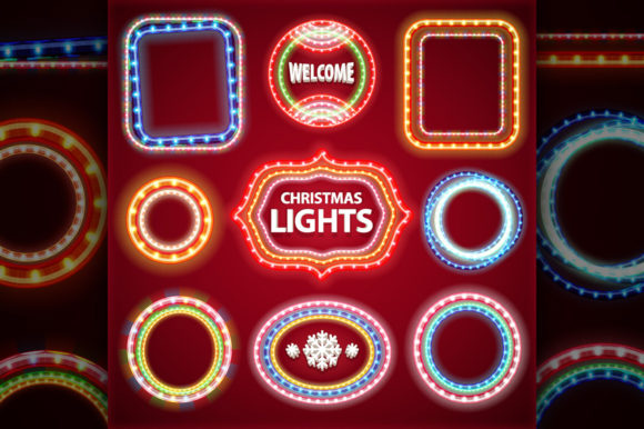 Christmas Lights Decorations Set Graphic Preview