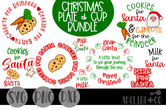 Christmas Plate Bundle, Milk and Cookies Graphic Crafts By adelinenco