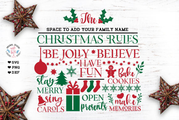 Christmas Rules Custom Family Last Name Graphic Crafts By GraphicHouseDesign