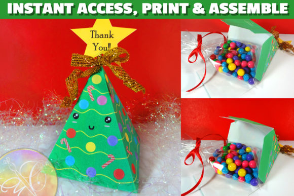 Christmas Tree Kawaii Favor Box Graphic Crafts By paperart.bymc