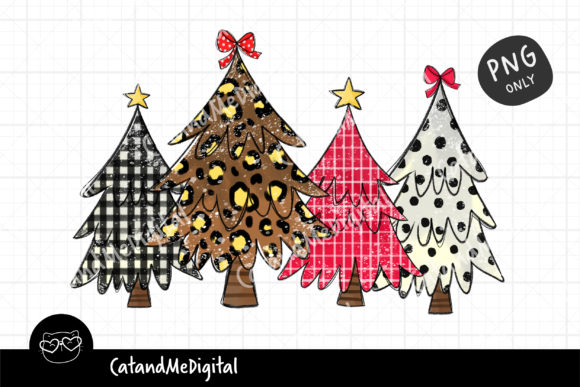 Christmas Tree Sublimation Digital PNG. Graphic Illustrations By CatAndMe