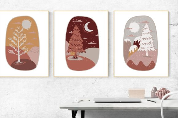 Christmas Tree for Wall Art Decoration Graphic Illustrations By onoborgol