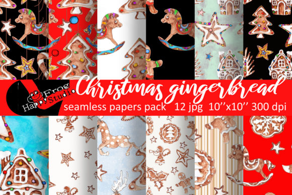 Christmas Patterns Pack with Gingerbread Graphic Patterns By arevkasunshine