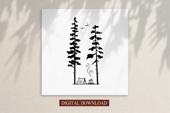 Print on Demand: Clip Art,Camping in the Woods at Night Graphic Logos By Saydung89