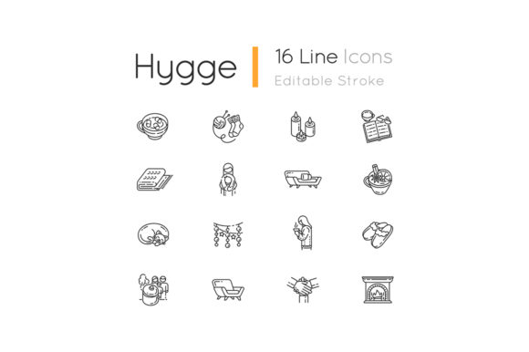 Print on Demand: Cozy Danish Trend Linear Icons Set Graphic Icons By bsd studio