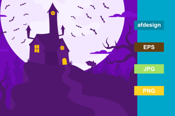 Creepy Halloween House Background Graphic Backgrounds By semu creative