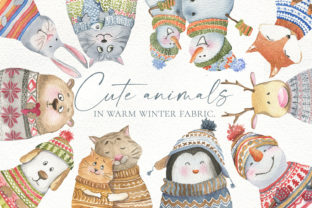Print on Demand: Cute Animals in Warm Winter Fabric Graphic Illustrations By laffresco04