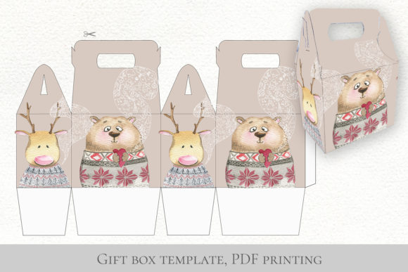 Cute Animals in Warm Winter Fabric Graphic Preview