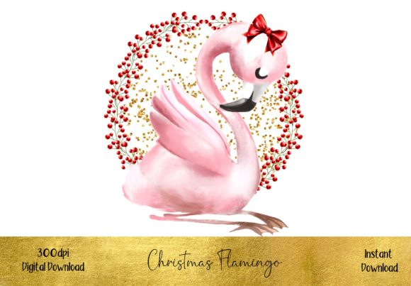 Cute Christmas Flamingo Graphic Illustrations By STBB