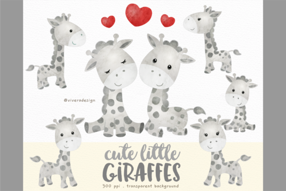 Print on Demand: Cute Little Giraffes Watercolor Clipars Graphic Illustrations By vivera