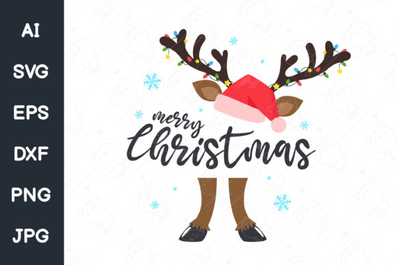 Cute Reindeer and Merry Christmas Text Graphic Illustrations By CRStocker