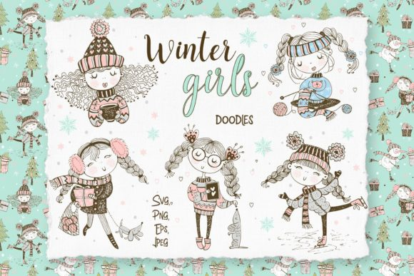 Cute Girls Winter Digital Cliparts Gráfico Ilustraciones Por grigaola