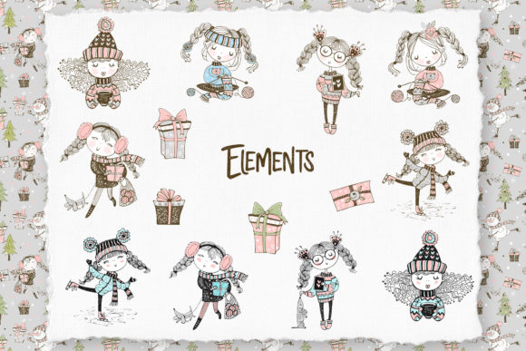 Cute Girls Winter Digital Cliparts Graphic Download