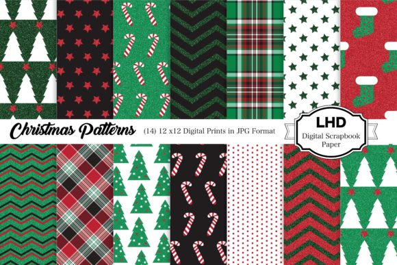 Digital Paper Classic Christmas Graphic Patterns By LeskaHamatyDesign