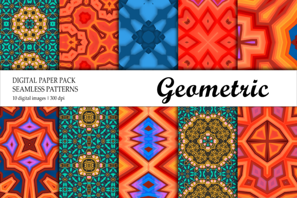 Print on Demand: Digital Paper Geometric Green Red Blue Graphic Backgrounds By isalnesia
