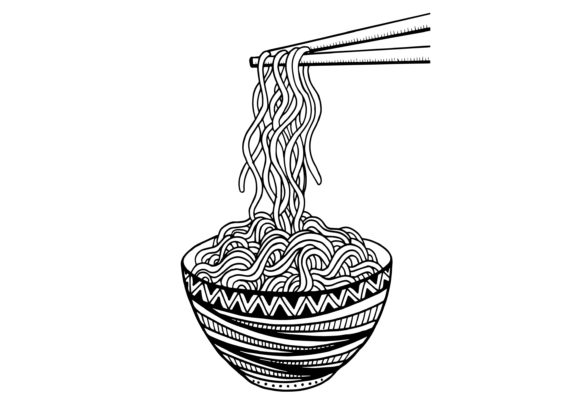 Doodle Noodle at Bowl and Chopsticks Graphic Illustrations By Santy Kamal
