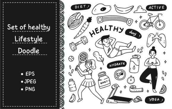 Exercise People with Food and Equipment Graphic Illustrations By Big Barn Doodles
