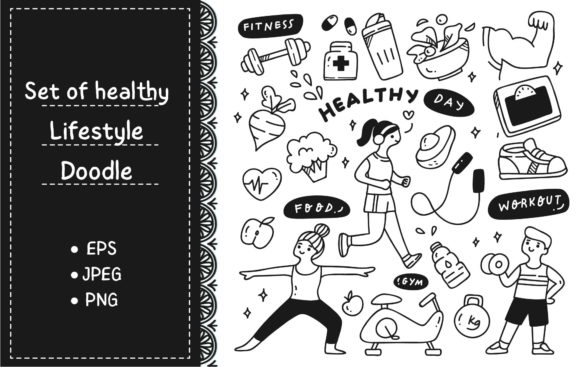 Exercise People with Food and Equpment Graphic Illustrations By Big Barn Doodles