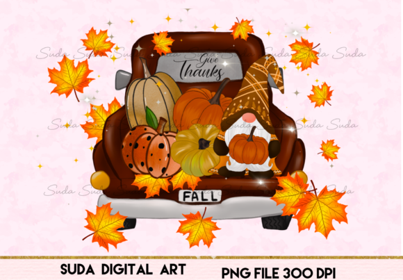 Print on Demand: Fall Gnome Truck Thankful Sublimation Grafik Illustrations von Suda Digital Art