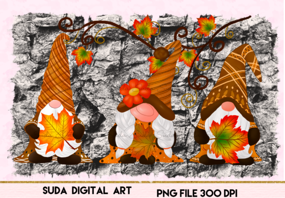 Print on Demand: Fall Gnomes Thankful Design Sublimation Graphic Illustrations By Suda Digital Art