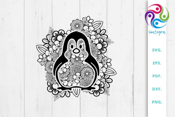 Print on Demand: Floral Mandala Penguin Svg File Graphic Crafts By Sintegra