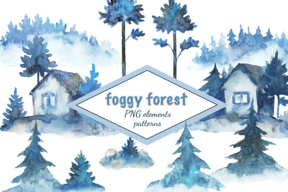 Foggy Forest Watercolor Painted Set Graphic Illustrations By y.kachan87