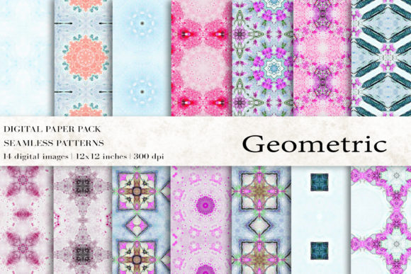 Geometric Digital Papers Graphic Patterns By BonaDesigns