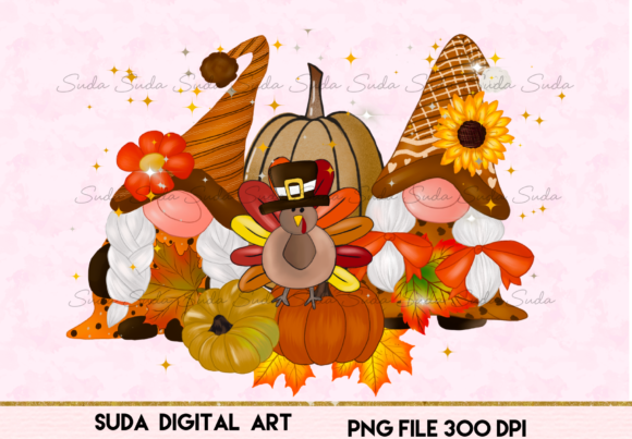 Print on Demand: Gnomes Thanksgiving Design Sublimation Graphic Illustrations By Suda Digital Art